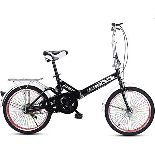 ASYKFJ Bicicletas plegables de 20 pulgadas, mini portátil para estudiantes plegable para hombres y mujeres, bicicleta plegable ligera, absorción de golpes, ruedas coloridas (color negro)