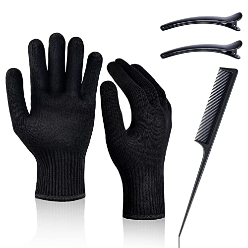Heat Resistant Gloves Heat Proof Glove IKOCO 2Pcs Mitts for Hair Styling Curling Iron Flat Iron and Curling Wand Hot-Air Brushes,Universal Fit Size
