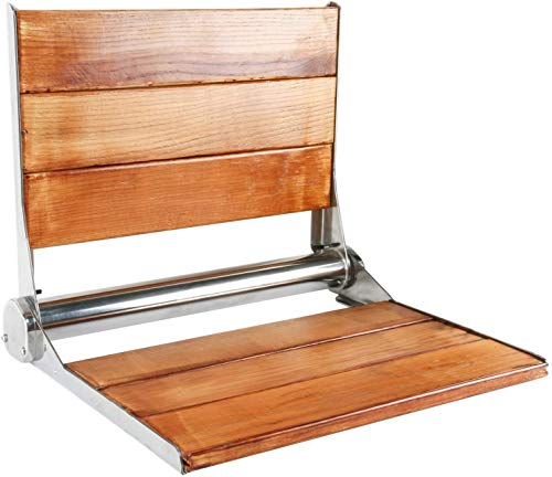 YaeGarden Teak Folding Shower Seat Wall Mounted Solid Wood Fold Down Spa Bench with Backrest