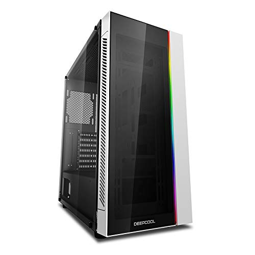 DeepCool Matrexx 55 White Case ATX USB 3.0 PC Gaming 0.6 mm SPCC Front Tempered Glass 1*Strip RGB Rainbow Addressable Sync 5V ADD-RGB Panel Frosted Glass (AxPxL 480 x 440 x 210 mm)
