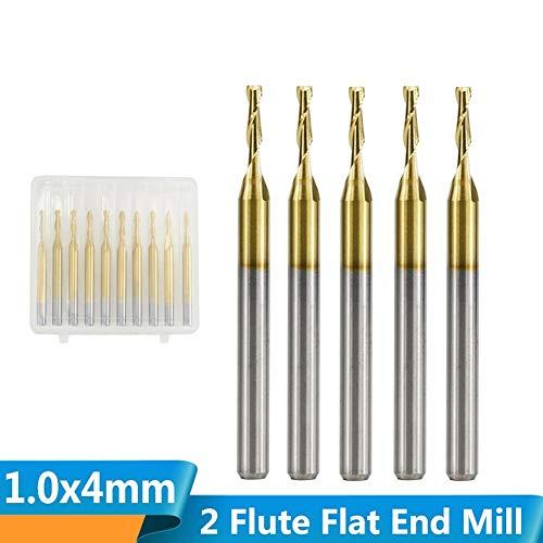 CHENWN 10Pcs 1Mm Hartmetall-Schaftfräser Flach 3,175 Schaft CNC Fräser Für Holz/Kunststoff Cut 2 Flute Spiral-Enden-Mühle
