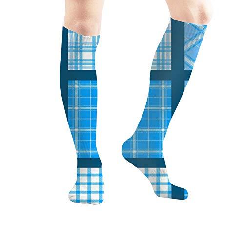 Calcetines atléticos a la rodilla con diseño abstracto en S a cuadros (50 cm)