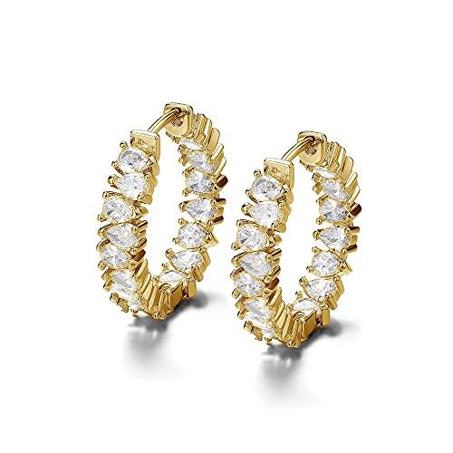 Damen Ohrringen 18 karat vergoldet Für Frauen Creolen gold kleine Ohrringe Grösse 21 mm hängend mit funkelnden Swarovski Zirkonia Steinen Silber gold