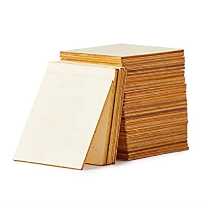 Wood Squares for Crafts, Square Wood Pieces, Unfinished Wooden Square Cutouts