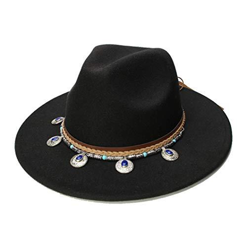 Donad Retro Kind Fedora Wide Brim Cap Mit Legierung Anhänger Lederband Jazz Hüte