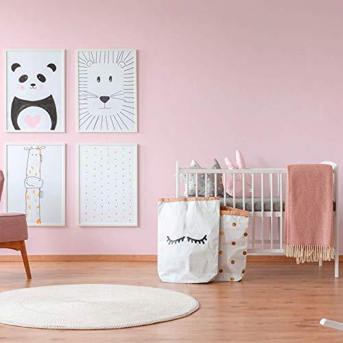 WALL-ART Umweltfreundliche einfarbige Schlafzimmer Tapete Rosa Wandfarbe für Kinderzimmer Unitapete Babyzimmer Wanddeko