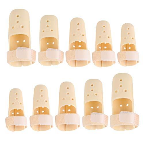 Oyria 10 Piezas de férula de Dedo mazo férula de Soporte de Dedo Ajustable de plástico de 5 tamaños Protector de Soporte de Dedo para inmovilizador de Dedo Ajustable para Baloncesto protección