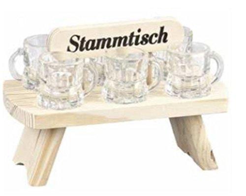 Stammtisch aus Holz mit 6 Schnapsgläser Titelbild