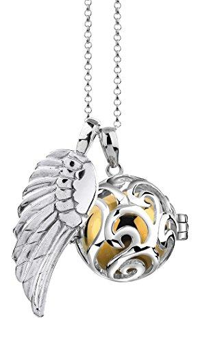 Nenalina EFS-021 – Collar de plata 925 con llamador de ángeles |- Colgante con bola de sonido y alas de ángel para mujer, longitud de 80cm