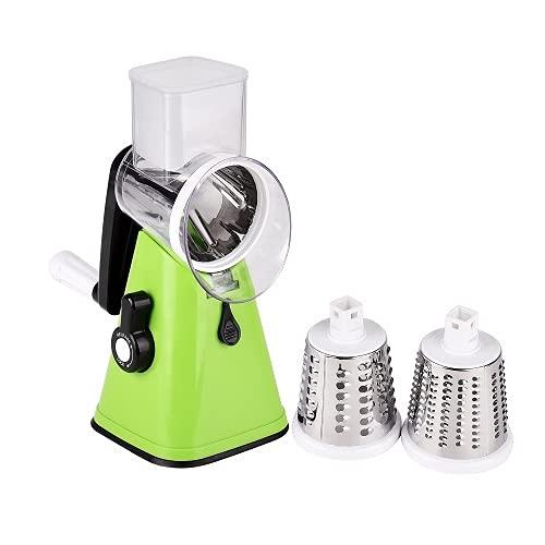 YU YUSING Cortador de verduras y verduras, rallador de tambor y queso, 3 en 1, multi-ralladora manual con 3 inserciones de tambor de acero inoxidable (verde)