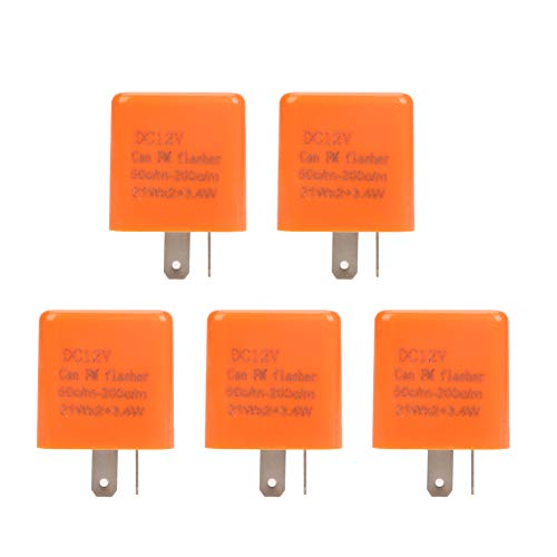 5 Pcs 12V 2 PIN Adjustable Electronic Flasher Relay Fix for LED Turn Signal Light Bulbs