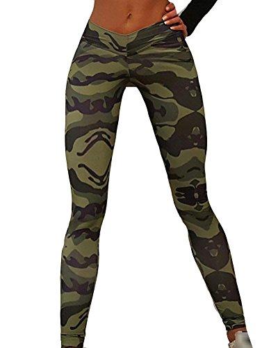 Femmes Manches Longues T Shirt Camouflage Leggings De Sports Workout Gym Fitness Pantalon XL