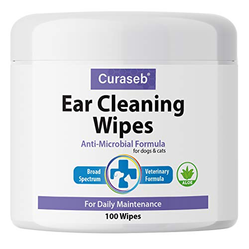 Curaseb Cat and Dog Ear Wipes - Otic Advanced Veterinary Ear Cleaner - No Sting Alcohol Free Formula - 100 Wipes