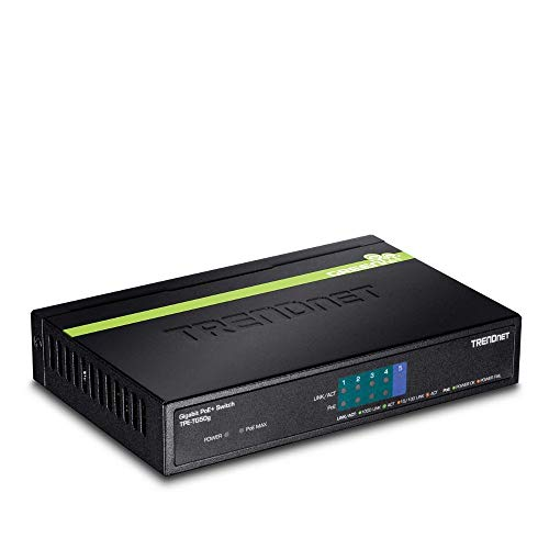 TRENDnet 5-Port Gigabit PoE+ Switch, TPE-TG50g, 31 W PoE Budget, 10 Gbps Switching Capacity, Plug & Play, Ethernet Network Switch, Data & Power through Ethernet to PoE Access Points and IP Cameras, Full & Half Duplex