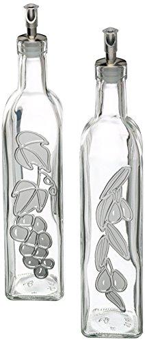 Kitchen Craft Italian Collection Set 2 dispenser in vetro per olio e aceto, grandi