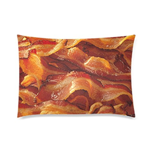Pillowcase Funny Bacon with Zipper, Pillow Protector, Best Pillow Cover - Standard Size 20x30 inches, One-Sided Print