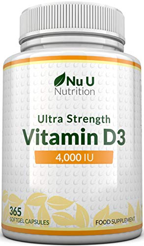Vitamin D 4000 IU, 365 Softgel Capsules NOT Tablets, Full Year Supply, Easy to Swallow Quadruple Strength Vitamin D3 Supplement