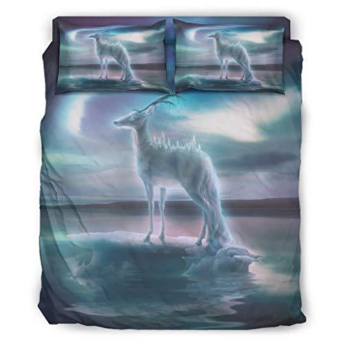 Wandlovers Juego de ropa de cama de 4 piezas, diseño de fantasía, alce Aurora Borealis y criaturas, para todo el año, funda nórdica y fundas de almohada, faldón de cama, color blanco, 175 x 21