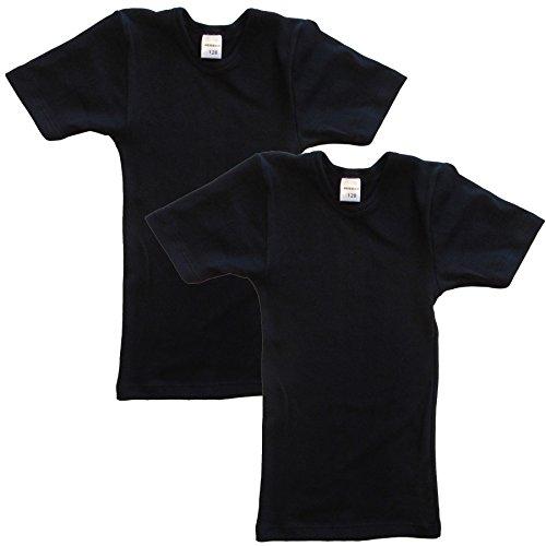 HERMKO 62810 2er Pack Kinder kurzarm Funktionsshirt für Sport und Alltag, Farbe:schwarz, Größe:116