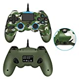 PS4 Wired Controller, Dual Vibration Camouflage PS4 Remote Controller with Back L3 R3 Buttons and 3.5MM Headphone Jack for Play Station 4 PS4/PS3/PC Platform
