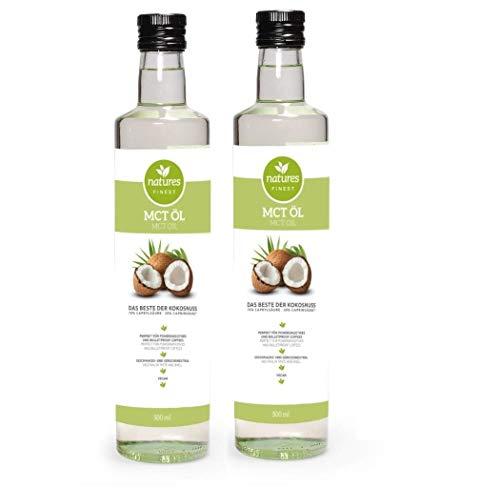 natures FINEST® MCT Öl • Test-Note: 1,2 • 2x 500ml Glasflasche, vegan aus 100% Kokosöl, 70% Caprylsäure und 30% Caprinsäure • Paleo & Keto