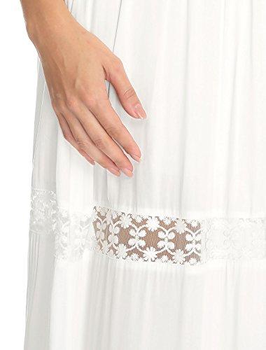 Allegra K Falda Larga para Mujer A- Línea Encaje Insertado Cintura Elástica Blanco L