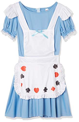 Smiffys-39474M Alice in Wonderland Disfraz deNina baraja de Cartas,con Vestido, Color Azul, M-EU Tamao 40-42 (Smiffy'S 39474M)