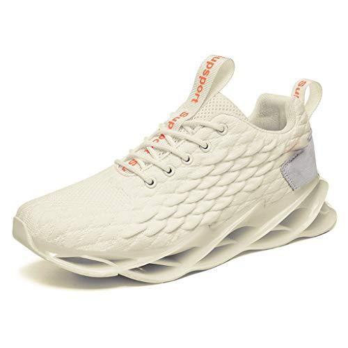 Sportschuhe Herren Sneaker Dämpfung rutschfeste Turnschuhe Atmungsaktiv Leichtgewicht Freizeitschuhe Ultra-Light Trainers Schuhe Mesh Tuch Laufschuhe (Weiß, 44)