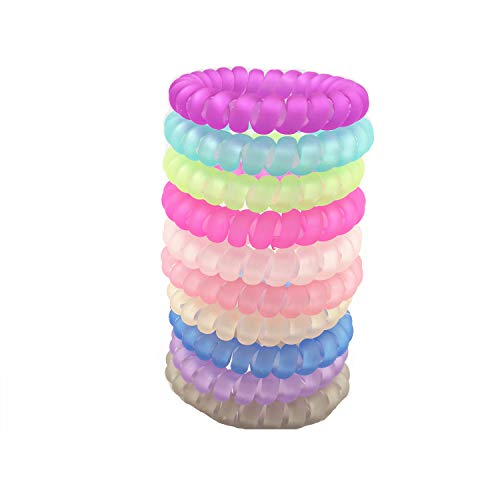 Smrroy 10 pack Hair ring coil hair ties spiral, Updated traceless, No crease, hair coils, Premium thick hair phone cord ponytail holders with Assorted color (style1)