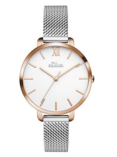 s.Oliver Damen Analog Quarz Uhr mit Edelstahl Armband SO-3454-MQ