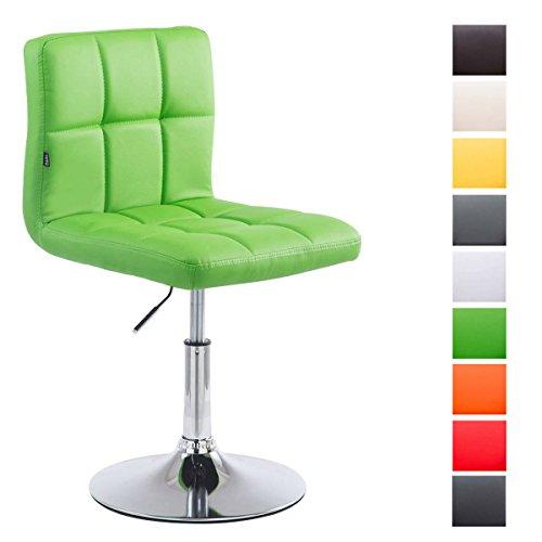 CLP Drehstuhl Palma V2 mit hochwertiger Polsterung und Kunstlederbezug I Höhenverstellbarer Esszimmerstuhl mit Metallgestell in Chrom-Optik Grün