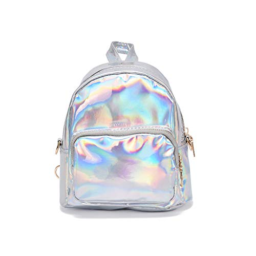 YCX Damen Hologramm Pailletten PU Leder Mini Rucksäcke Teenager Schultertasche/Silber,Shiny Hologram Laser Zipper PU-Leder Rucksack,Weiß