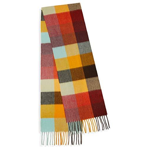 Nvshiyk Schals für Frauen Farbe Plaid Schal Damen Farbe Plaid-Schal-Schal geeignet for den Herbst und Winter Reisedecke Schal (Farbe : Chestnut Dumplings, Size : 230x30cm)