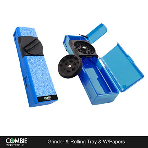 Combie Grinder - All in One Herb Grinder with Rolling Papers. Perfect for rolling on the go (Mandala-blue)