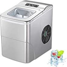 AGLUCKY Compact Automatic Counter Top Ice Maker Machine,13 Inch Height,Silver,HZB-12/B
