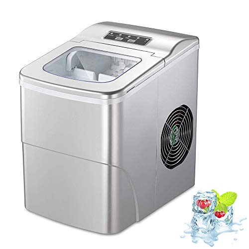 AGLUCKY Counter top Ice Maker Machine,Compact Automatic Ice Maker,9 Cubes Ready in 6-8 Minutes,Portable Ice Cube Maker with Scoop and Basket,Perfect For Home/Kitchen/Office/Bar (Silver)