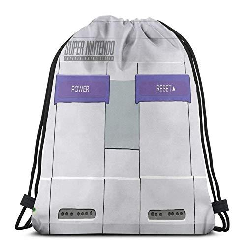 LREFON SNES Console Sport Sackpack Mochila con cordón Bolsa de Gimnasio Saco