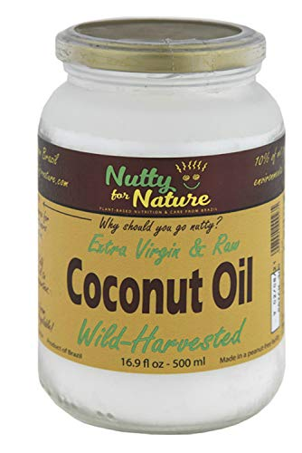 Nutty for Nature Extra Virgin and Raw, Cold Pressed Coconut Oil From Brazil – Glass Jar, 16.9 Ounces