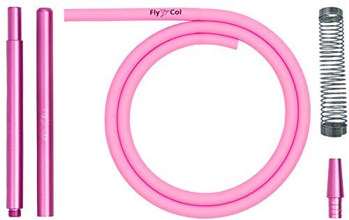 FlyCol Shisha Schlauch Set | Aluminium Mundstück | Hochwertiger Silikonschlauch | Knickschutzfeder | Schischa Wasserpfeife Accesories Shishaschlauch Kit Bündel Silikon (Pink, 1)