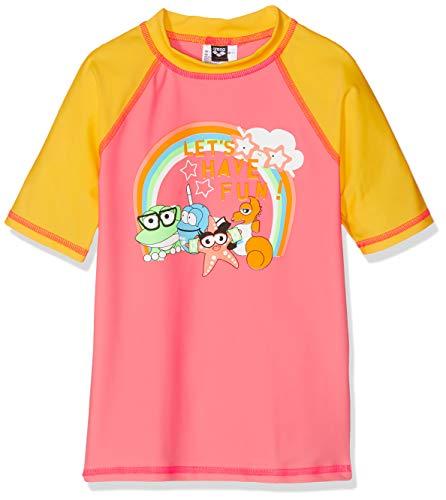 ARENA Kids Girl S/S tee Camiseta de Manga Corta niña con protección UV AWT, Niñas, Pale Rose-Lily Yellow, 2-3