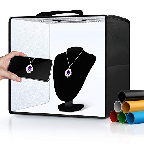 """Portable Photo Studio Light Box,12""""x12"""" Professional Dimmable Shooting Tent Kit with 112 LEDs Lights & 6 Backdrops for Jewelry and Small Items Product Photography"""