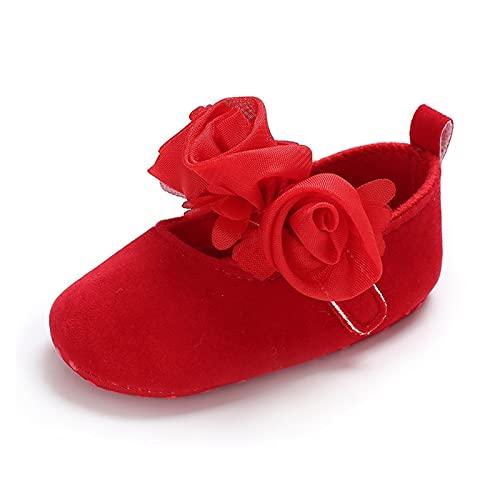 FURONGWANG6777BB Zapatos de Cuna for niñas bebé recién Nacido niña Princesa Danza Flor Zapatos niño Suave Suela sólido Zapatos sólidos (Color : Red, Size : 0-6 Months)
