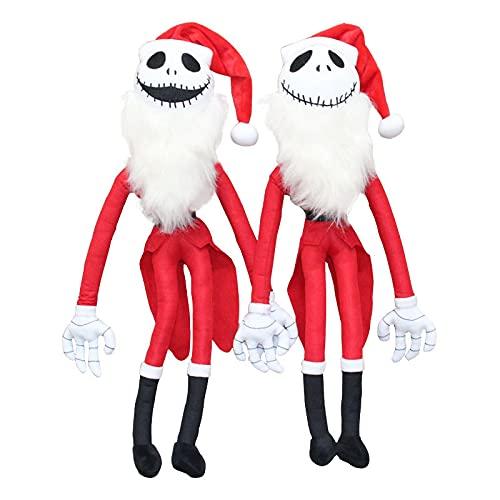 mingmi 2 Unids / Set 50 Cm De Peluche De Papá Noel La Pesadilla Antes De Navidad Jack Skellington Papá Noel Muñecos De Peluche De Felpa Niños