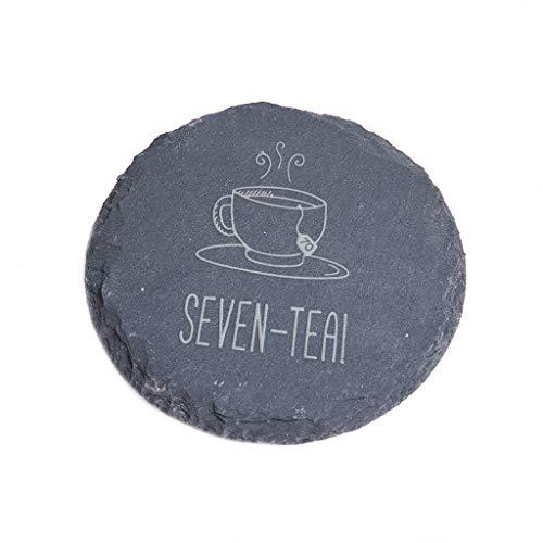 'Seven-Tea!' Engraved Slate Coaster - Funny 70th Birthday Gift for Tea Lovers