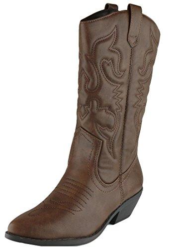 Cambridge Select Women's Western Pointed Toe Mid-Calf Cowboy Boot,8,Dark Tan Pu