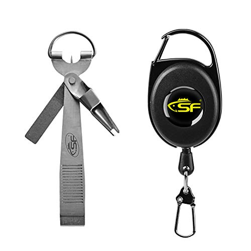 SF Fishing Quick Knot Tying Tool Fishing Mono Line Clipper with Zinger Retractor Combo # Sliver