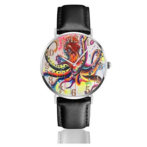 Red Octopus Antennae Art Bunte Clo Lederuhr Armbanduhren Scratch Resist Quartz Watch Wear Watches