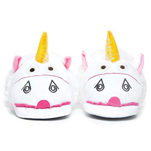 Katara 1767-Unicornio Unicorn Peluche-Zapatos de Pantuflas-Divertido Puschen Slipper Talla Única 36-44, Color Blanco/Rosa