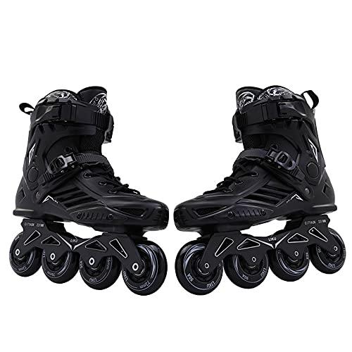 COUYY Inline-Skates Neue Herren-Frauen-Inline-Schlittschuhe Erwachsene Rollschuhe Schiebe Freestyle Skates Rocker Räder,Schwarz,17