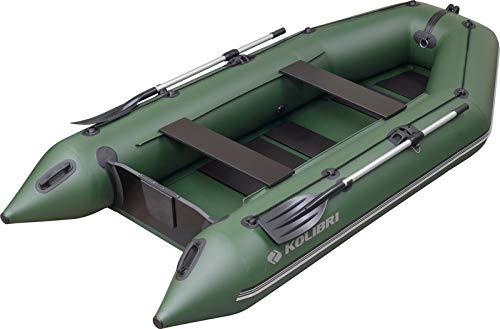 kolibri KM-330 Motorboot mit Faltboden - Schlauchboot Ruderboot Angelboot Beiboot - inkl. Heckspiegel, Transporttasche, Fuß-Luftpumpe & Reparatur-Set